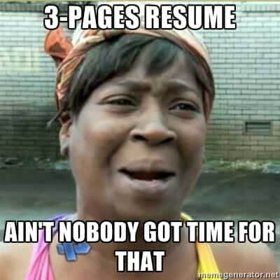 resume mistake: too many pages